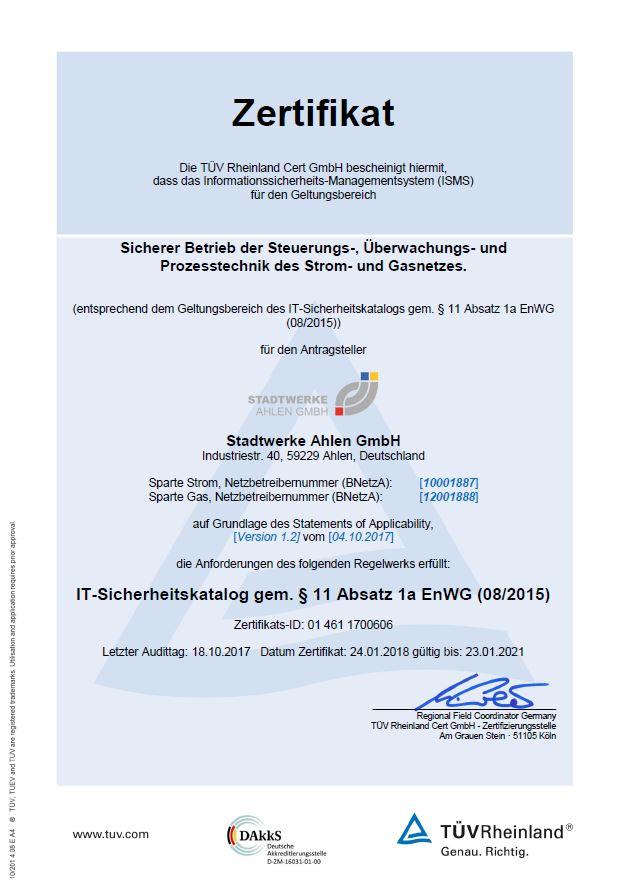 Stadtwerke Ahlen - Zertifikat